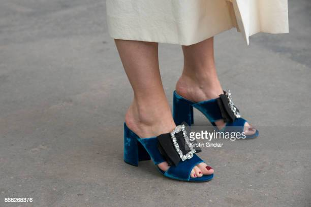 Fashion stylist and consultant Kate Foley Osterweis wears Miu Miu shoes day 3 of Paris Womens Fashion Week Spring/Summer 2018 on September 28 2017 in...