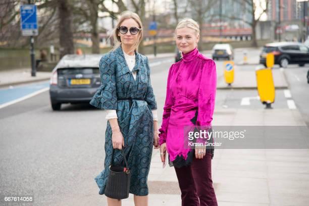 Fashion stylist and contributing editor at Harpers Bazaar Martha Ward wears an Orla Kiely shirt Burberry dress with Fashion blogger Pandora Sykes...