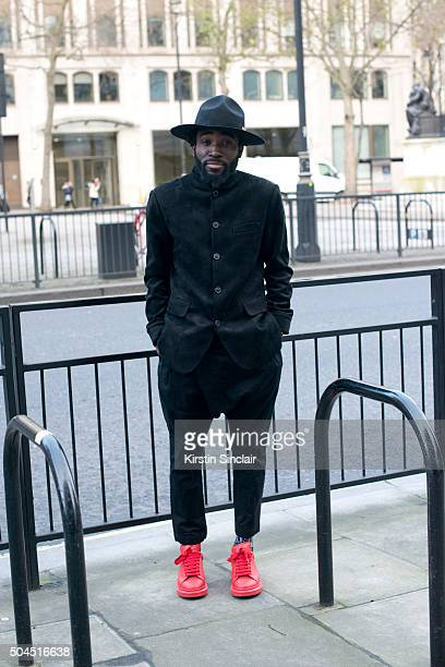 Fashion stylist and designer Charley Van Purpz wears Alexander Mcqueen shoes Simon and Mary hat and own design trousers on day 3 of London...