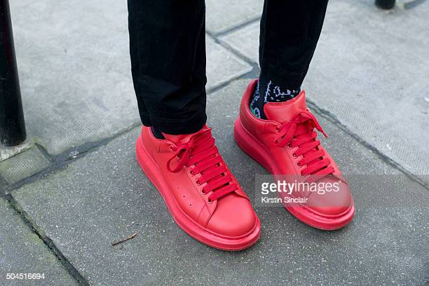 Fashion stylist and designer Charley Van Purpz wears Alexander Mcqueen shoes and own design trousers on day 3 of London Collections Men on Januay 10...