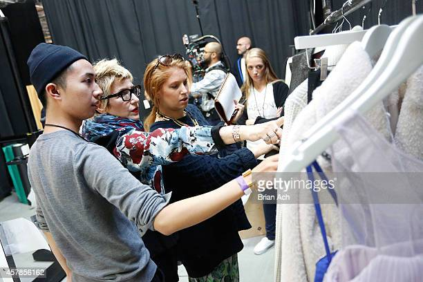 Fashion Stylist and Fashion Editor at Large at ELLE Lori Goldstein and the Parsons team prepare backstage for Amazon Fashion Studio Sessions 2014 on...