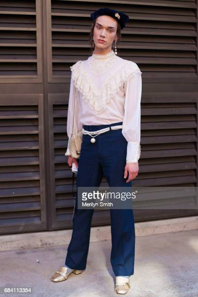 Fashion Stylist and Model Curtis Hudson wearing all vintage and Gucci shoes during MercedesBenz Fashion Week Resort 18 Collections at Carriageworks...