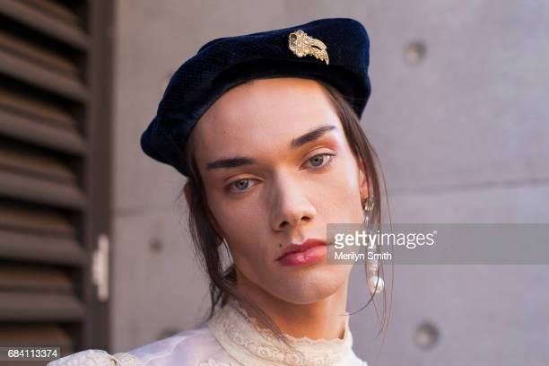 Fashion Stylist and Model Curtis Hudson wearing all vintage during MercedesBenz Fashion Week Resort 18 Collections at Carriageworks on May 17 2017 in...