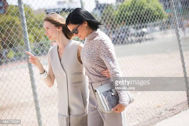 Fashion stylist Anya Ziourova and DJ/Model Leigh Lezark leave Jason Wu on Day 2 of New York Fashion Week Spring/Summer 2015 on September 5 2014 in...