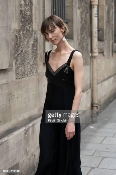 Fashion Stylist Anya Ziourova wears a Jason Wu dress during Haute Couture Fall Winter 2018/2019 on July 1 2018 in Paris France