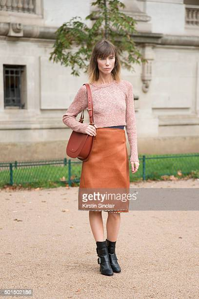 Fashion stylist Anya Ziourova wears Jason Wu on day 8 during Paris Fashion Week Spring/Summer 2016/17 on October 6 2015 in Paris France Anya Ziourova