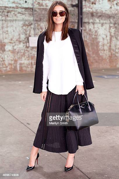 Fashion Stylist Ashleigh Leech wears a Saba jacket, Scanlan and Theodore top, Alice McCall trousers and Miu Miu sunglasses at Mercedes-Benz Fashion...