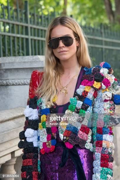 Fashion Stylist Blanca Miro Scrimieri wears a Ronald Van Der Kemp jacket and Dior sunglasses day 4 of Paris Haute Couture Fashion Week Autumn/Winter...