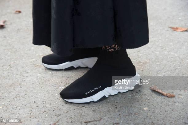 Fashion stylist Blanca Miro Scrimieri wears Balenciaga trainers day 4 of Paris Womens Fashion Week Spring/Summer 2018 on September 29 2017 in London...