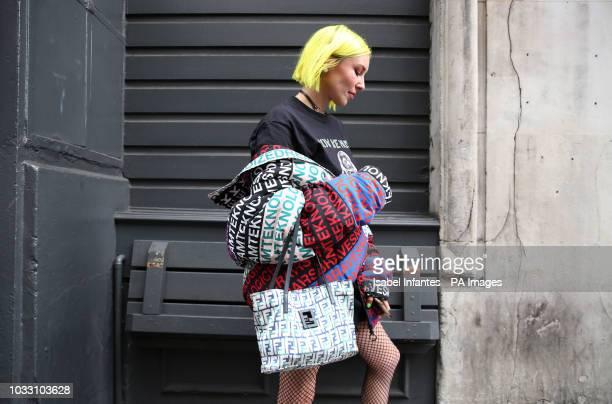 Fashion Stylist Blogger Kitty Cowell wears Diesel, Fendi, Noah and Fila during the London Fashion Week September 2018 after the NICOPANDA show. PRESS...