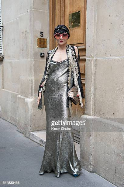 Fashion stylist Catherine Baba on day 1 of Paris Haute Couture Fashion Week Autumn/Winter 2016 on July 3 2016 in Paris France