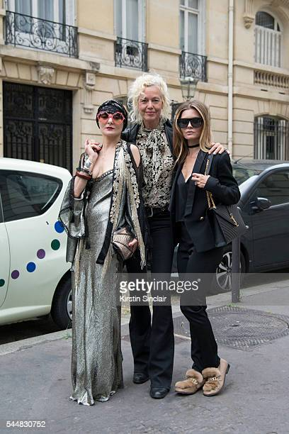 Fashion Stylist Catherine Baba Photographer Ellen Von Unwerth and a guest on day 1 of Paris Haute Couture Fashion Week Autumn/Winter 2016 on July 3...