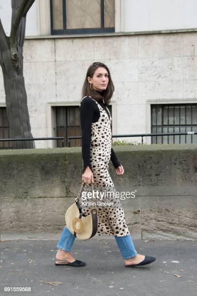 Fashion stylist Diletta Bonaiuti wears a Loewe bag Attico dress Zara shoes Leviu2019s jeans on day 3 during Paris Fashion Week Autumn/Winter 2017/18...