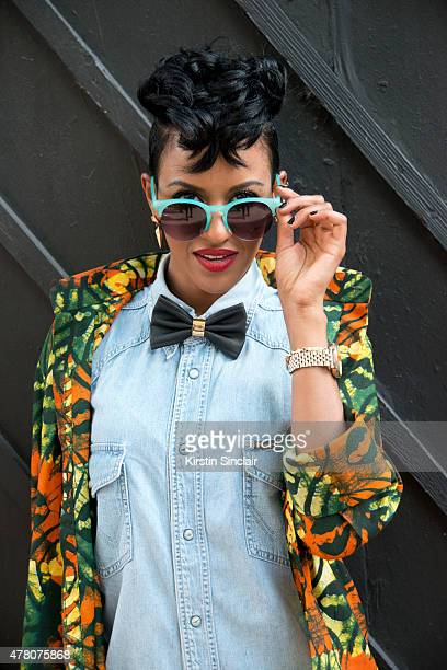 Fashion stylist Elodie Fromenteau wears vintage Wrangler dress H and M bow tie and bag IYU sunglasses Camden Stables Market shirt and Topshop...