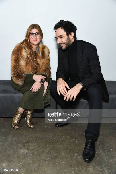 fashion stylist Engie Hassan and actor Amir Arison and attend ELLE E and IMG New York Fashion Week February 2017 KickOff Event on February 8 2017 in...