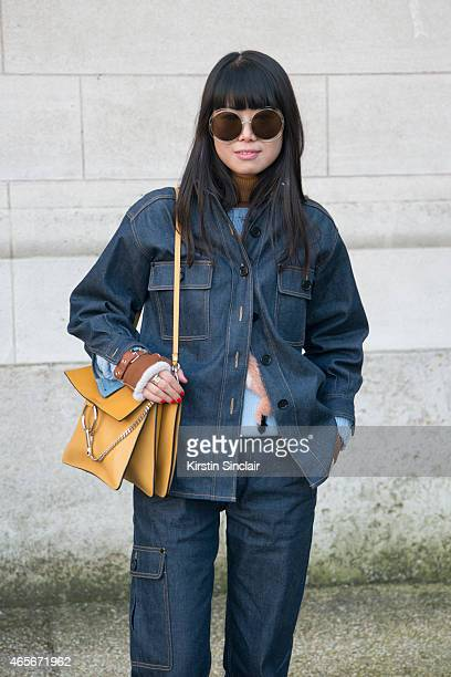 Fashion stylist Leaf Greener wears a Chloe bag and sunglasses at the Chloe show on day 6 of Paris Collections Women on March 08 2015 in Paris France