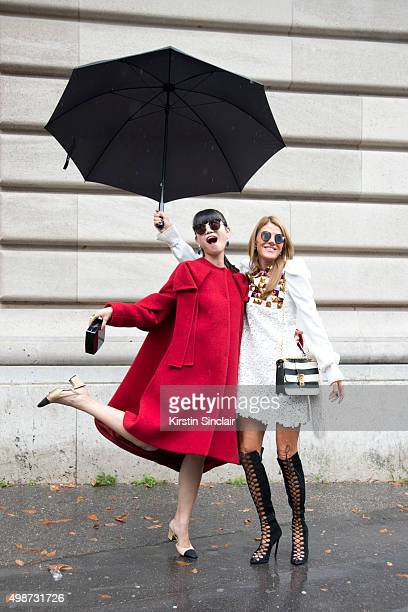 Fashion Stylist Leaf Greener wears a Delpozo coat Chanel bag and shoes and Emporio Armani sunglasses sunglasses with Editor At Large and Creative...