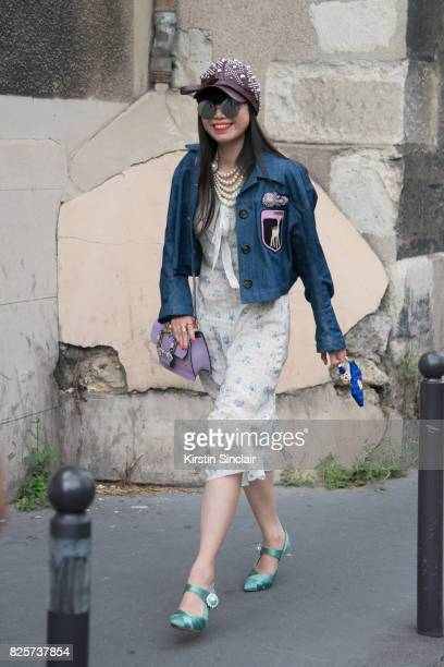 Fashion Stylist Leaf Greener wears a Miu Miu jacket bag dress and shoes day 1 of Paris Haute Couture Fashion Week Autumn/Winter 2017 on July 2 2017...