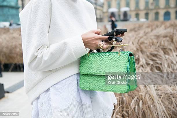 Fashion Stylist Leaf Greener wears a Toni Maticevski sweater and dress M2 Malletier handbag day 2 of Paris Haute Couture Fashion Week Autumn/Winter...