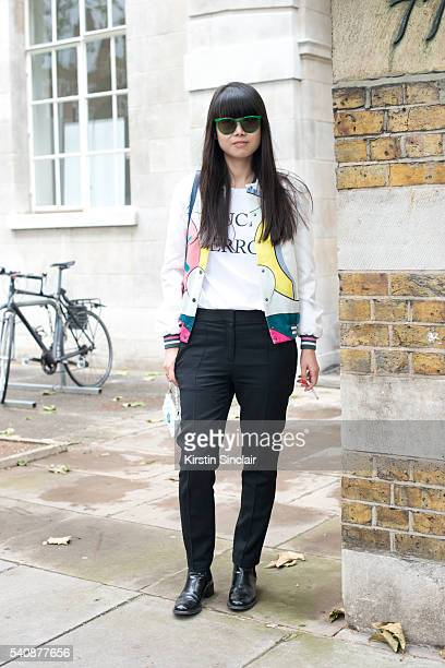 Fashion stylist Leaf Greener wears Celine sunglasses and trousers Mira Mikati jacket and Churches shoes on day 4 of London Collections Men on June 13...