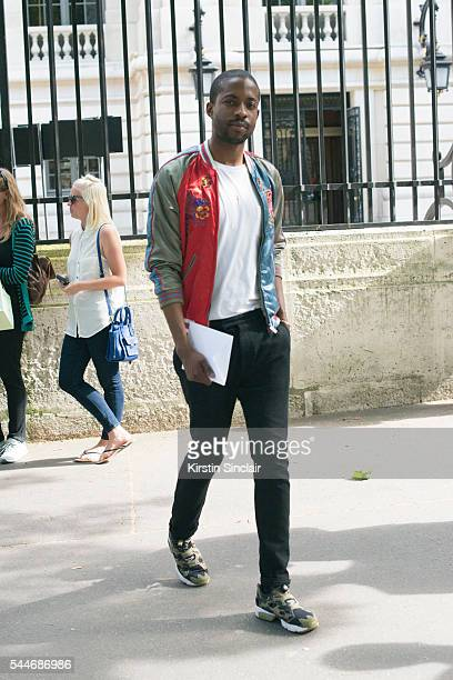 Fashion Stylist Manny Ezugwu wearing a Louis Vuitton bomber jacket on day 4 of Paris Collections Men on June 25 2016 in Paris France Manny Ezugwu
