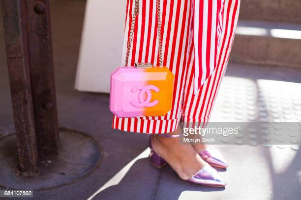Fashion Stylist Monica Morlaes wearing a L'oeil top and pants Chanel bag and Asos shoes during MercedesBenz Fashion Week Resort 18 Collections at...