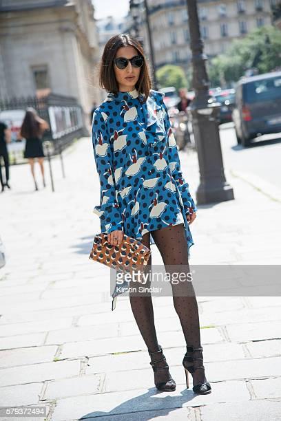 Fashion stylist Nausheen Shah wears a Marni dress and bag Chloe Gosselin shoes and Dior sunglasses day 4 of Paris Haute Couture Fashion Week...