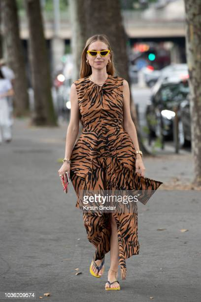 Fashion Stylist Pernille Teisbaek wears a Celine dress Havaianas flip flops and Chimi sunglasses during Haute Couture Fall Winter 2018/2019 on July 1...