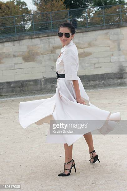 Fashion stylist Tina Leung wearing a vintage Lanvin dress and Valentino shoes on day 8 of Paris Fashion Week Spring/Summer 2014, Paris October 01,...