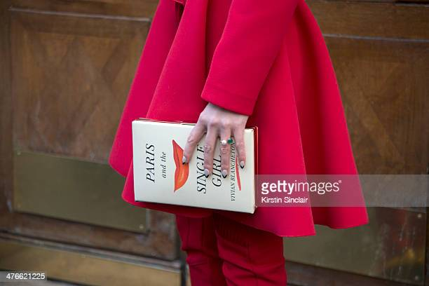 Fashion Stylist Zosia Slotala wears a Lukasz Jemiot trousers and Kate Spade bag on day 4 of Paris Collections Women on February 28 2014 in Paris...
