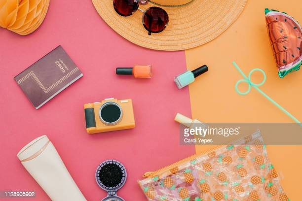 fashion summer girl clothes accessories set woman essentials.overhead - personal accessory stock pictures, royalty-free photos & images