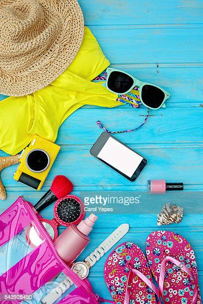 fashion summer girl clothes accessories set woman essentials.overhead - multi coloured purse stock photos and pictures