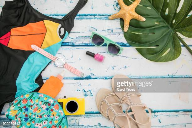 fashion summer girl clothes accessories set woman essentials.overhead - mixed magazine stock photos and pictures