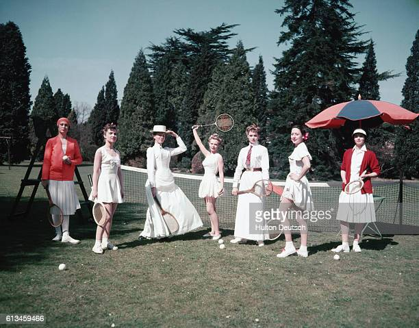 Fashion through the years at Winbledon Gerda Larsen as Mrs Lambert Chambers who was seven times a champion Barbara Archer as Suzanne Lenglen spirit...