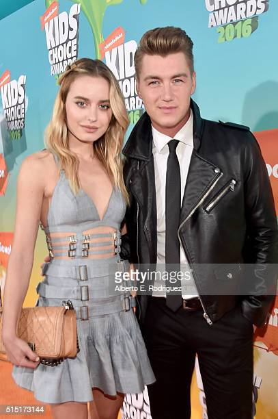 Fashion vlogger Sonya Esman and singer Alexey Vorobyov attend Nickelodeon's 2016 Kids' Choice Awards at The Forum on March 12 2016 in Inglewood...