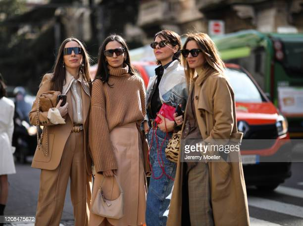 Fashion Week guest are seen before Sportmax during Milan Fashion Week Fall/Winter 2020-2021 on February 21, 2020 in Milan, Italy.