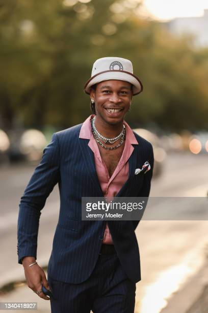 Fashion Week Guest arriving at the About You Fashion Week on September 11, 2021 in Berlin, Germany.