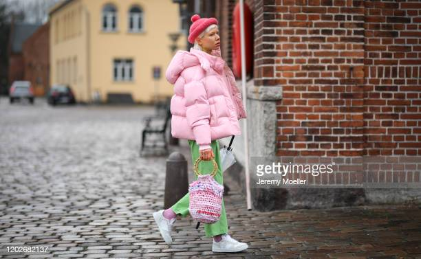 Fashion Week guest before Mykke Hofmann on January 28, 2020 in Copenhagen, Denmark.