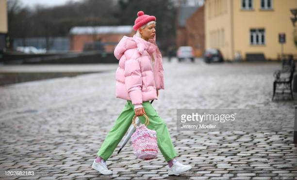 Fashion Week guest before Mykke Hofmann on January 28, 2020 in Copenhagen, Denmark.