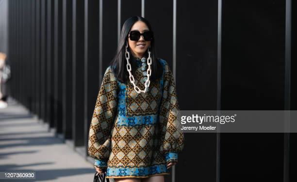 Fashion Week guest is seen before the Gucci Show during Milan Fashion Week Fall/Winter 2020-2021 on February 19, 2020 in Milan, Italy.