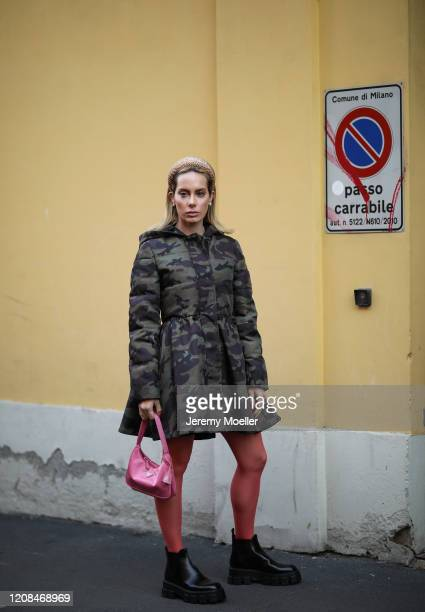 Fashion Week guest is seen before Tods during Milan Fashion Week Fall/Winter 20202021 on February 21 2020 in Milan Italy
