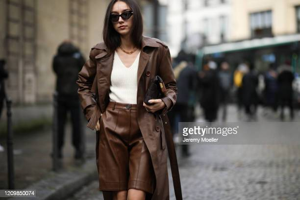 Fashion Week guest is seen outside Altuzarra show during Paris Fashion week Womenswear Fall/Winter 2020/2021 Day Six on February 29, 2020 in Paris,...
