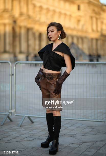 Fashion Week guest is seen outside Louis Vuitton show during Paris Fashion week Womenswear Fall/Winter 2020/2021 Day Nine on March 03, 2020 in Paris,...