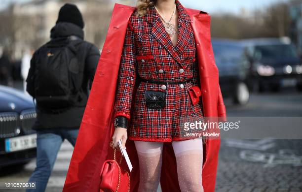Fashion Week guest is seen outside the Chanel show during Paris Fashion week Womenswear Fall/Winter 2020/2021 Day Eight on March 02, 2020 in Paris,...