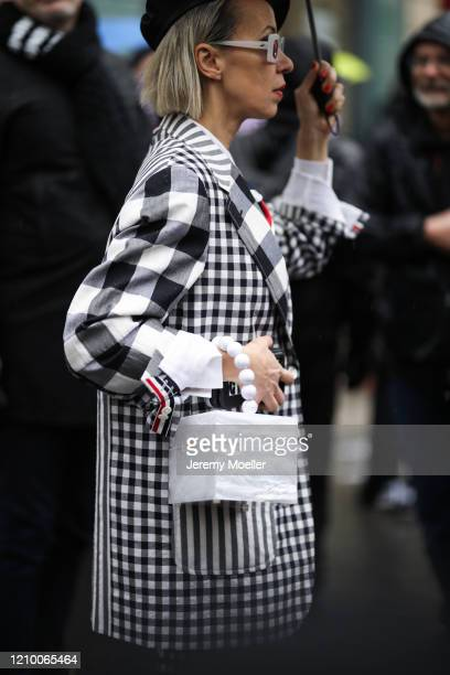 Fashion Week guest is seen outside Thom Browne show during Paris Fashion week Womenswear Fall/Winter 2020/2021 Day Seven on March 01, 2020 in Paris,...