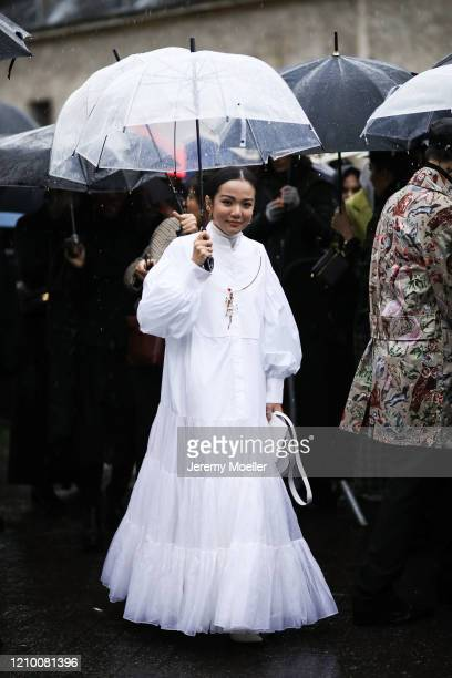 Fashion Week guest is seen wearing a complete Valentino look outside Valentino show during Paris Fashion week Womenswear Fall/Winter 2020/2021 Day...