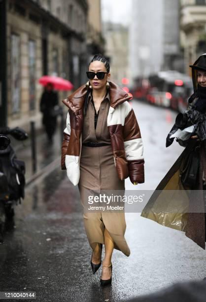 Fashion Week guest is seen wearing a Nanushka jacket outside Thom Browne show during Paris Fashion week Womenswear Fall/Winter 2020/2021 Day Seven on...