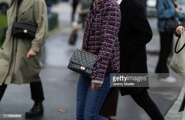 Fashion Week guest seen outside Chanel during Paris Fashion Week Womenswear Spring Summer 2021 Day Nine on October 06 2020 in Paris France