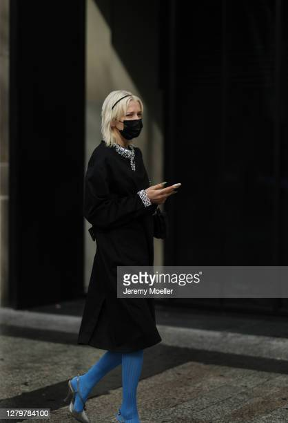 Fashion Week guest seen outside Miu Miu during Paris Fashion Week Womenswear Spring Summer 2021 Day Nine on October 06 2020 in Paris France
