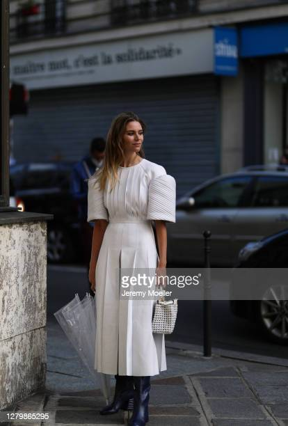 Fashion Week guest seen outside Paco Rabanne during Paris Fashion Week Womenswear Spring Summer 2021 Day Seven on October 04 2020 in Paris France